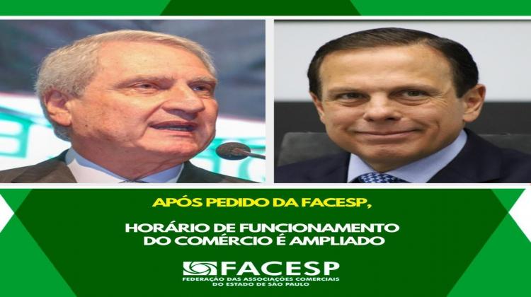 Notícia: Após pedido da Facesp, governo de SP amplia o horário de funcionamento do comércio